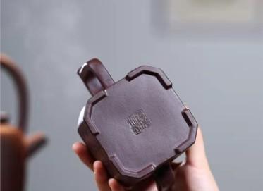 蒋锡坤紫砂壶作品 石红泥福佑八方壶450CC手制真品价格表