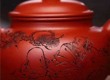 何其仙紫砂壶作品|原矿大红袍掇只壶350CC全手工真品价格