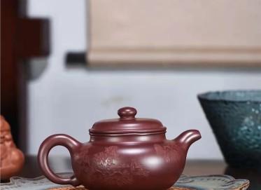 蒋锡坤紫砂壶作品|紫朱泥仿古壶420CC全手工正品行情