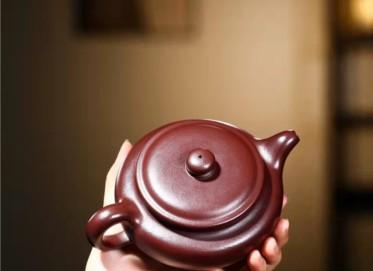 谈敏紫砂壶作品|石红泥扁腹壶320CC全手工正品价格表