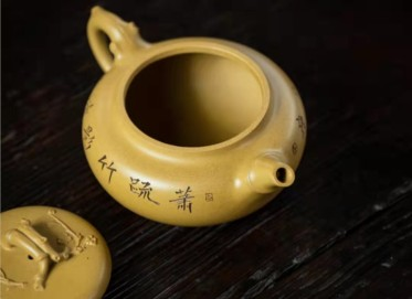 顾跃君紫砂壶作品|原矿黄金段泥双清壶250CC手工真品价位
