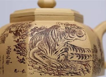 王玉芳紫砂壶作品|本山绿泥六方井栏壶400CC手工正品价位