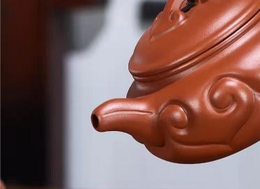 蒋锡坤紫砂壶作品|原矿大红袍仿古如意壶480CC纯手工正品行情