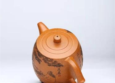 谈敏紫砂壶作品|蟹黄段泥井栏壶450CC手工正品价格表