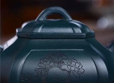 何其仙紫砂壶作品 民国绿泥四方抽角壶320CC手工正品多少钱