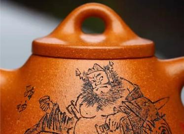 潘雪锋紫砂壶作品|蟹黄段泥霸王石瓢壶200CC纯手工真品价位