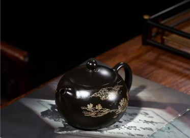 谈敏紫砂壶作品|乌金泥西施壶320CC全手工正品价格