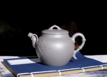 徐秀华紫砂壶作品 秀竹壶 清灰泥 300cc  工艺美术师 徐秀华紫砂壶价格,多少钱