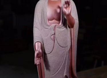 郑裕阳紫砂雕塑作品 接引佛摆件 紫泥粉浆雕塑 民间艺人 郑裕阳紫砂雕塑价格,多少钱