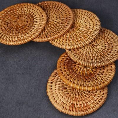 悠然紫砂作品 越南秋藤编杯垫