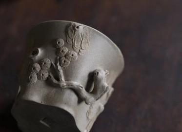 周飞紫砂壶作品 全手工松桩杯 刻长寿/问松壶 段泥 150cc 品茗杯 实力派名家 周飞紫砂壶价格,多少钱