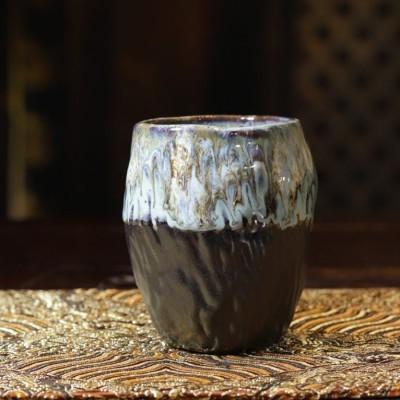 悠然紫砂作品 纯手工窑变粗陶茶杯