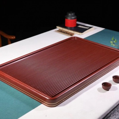 悠然紫砂作品 红汉金边胶木茶盘