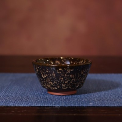 悠然紫砂作品 全手工天目釉窑变乌金品茗杯