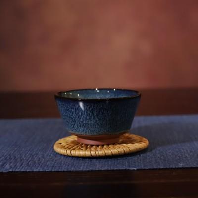 悠然紫砂作品 全手工天目釉窑变品茗杯