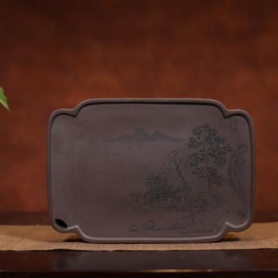 悠然紫砂作品 宜兴紫砂储水式壶承/干泡盘