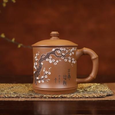陈伟宝作品 竹节盖杯-泥绘梅花款