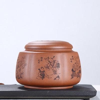 李龙胜作品 六福童子紫砂茶叶罐