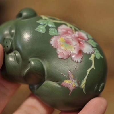 悠然紫砂作品 福猪