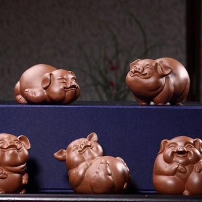 悠然紫砂作品 五福猪