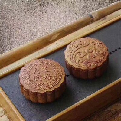 悠然紫砂作品 紫砂月饼茶叶罐