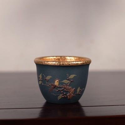 悠然紫砂作品 鎏金主人杯