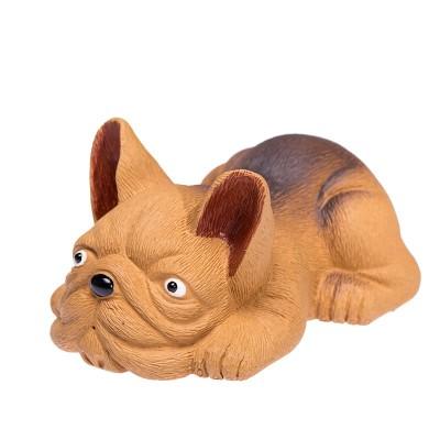 紫砂茶宠 八哥犬雕塑