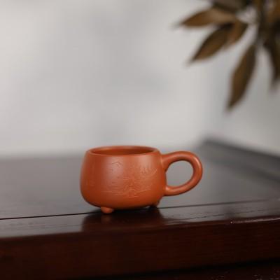 中国宜兴作品 带把朱泥品茗杯