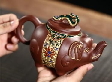 潘俊紫砂壶作品 原矿底槽清吉祥如意壶 460CC 国家级工艺美术师 潘俊紫砂壶价格,多少钱