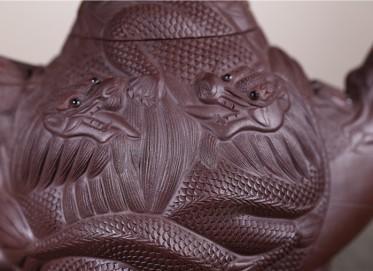 葛岳纯紫砂壶作品 大九龙壶 紫泥 670CC 研究员级高级工艺美术师 大九龙紫砂壶价格,多少钱