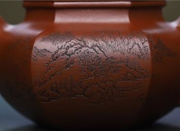 许俊紫砂壶作品 原矿底槽清六方仿古壶 280CC 国家级工艺美术师 许俊紫砂壶价格,多少钱