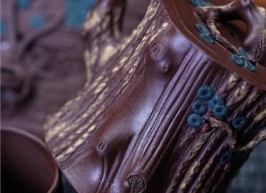 陈卫明紫砂壶作品 原矿紫泥松桩套组壶 190CC 国家级工艺美术师 陈卫明紫砂壶价格,多少钱