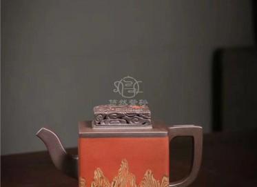 孔新华紫砂壶作品|原矿紫泥云山腾龙壶400CC全手工正品价位