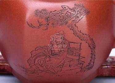 狄新陶紫砂壶作品|原矿大红袍松荫纳凉壶320CC纯手工正品价值