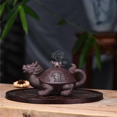 狄新陶作品 百寿龙龟壶