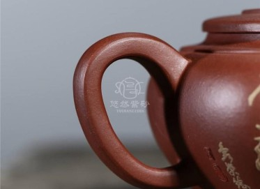 刘政紫砂壶作品|原矿底槽清泥绘清婉壶300CC手制真品行情