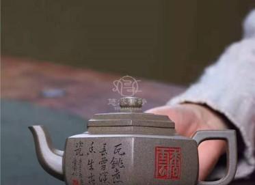 许俊紫砂壶作品|原矿青灰段泥六方雪华壶320CC纯手工正品怎么样