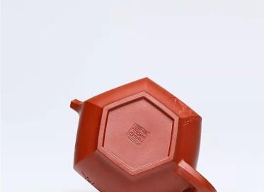 许涛紫砂壶作品|原矿大红袍大彬六方壶230CC全手工正品价格表