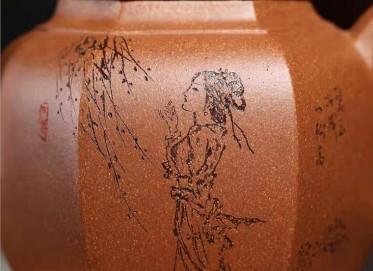 郭余华紫砂壶作品|蟹黄段泥亭亭玉立壶320CC纯手工真品价格