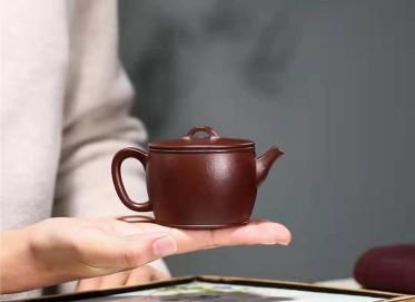 杨鹏紫砂壶作品|石红料汉瓦壶140CC纯手工正品价值
