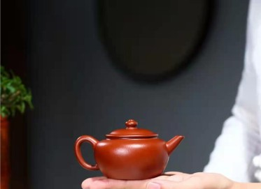 杨鹏紫砂壶作品 原矿朱泥水平壶180CC全手工真品价格