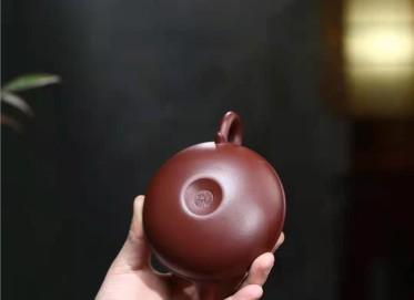 陈顺根紫砂壶作品|原矿紫泥线圆壶200CC纯手工正品价值