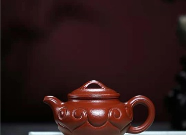 许华芳紫砂壶作品 原矿大红袍仿古如意壶310CC全手工真品价格表