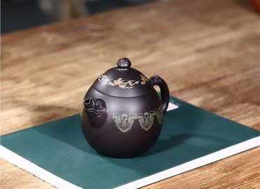 范君浩紫砂壶作品|黑料龙蛋壶290CC手工正品价值