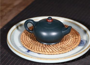史宗娟紫砂壶作品|墨绿泥时来运转壶160CC手工正品价格表