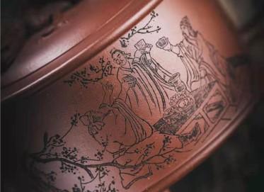 牟锦芬紫砂壶作品 原矿底槽清螭龙壶440CC纯手工正品价格
