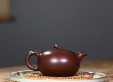 史宗娟紫砂壶作品|紫朱泥国色天香壶270CC全手工真品价位