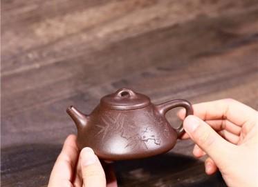 徐勤紫砂壶作品 黑星砂子冶石瓢壶140CC手工正品价格表