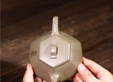 徐勤紫砂壶作品|原矿青段泥六方纳瓢壶230CC手工正品价格