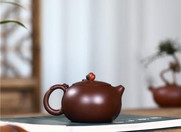 史宗娟紫砂壶作品|紫朱泥含苞待放壶250CC纯手工真品多少钱